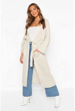 Womens Stone Belted Boyfriend Cardigan