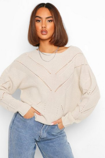 Womens Stone Pointelle Knitted Jumper