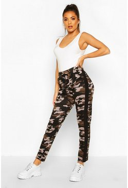 Womens Black Camo Legging With Contrast Panel