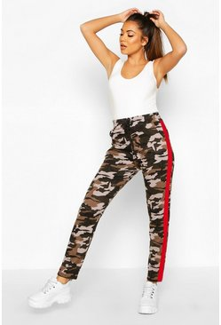 Red Camo Legging With Contrast Panel