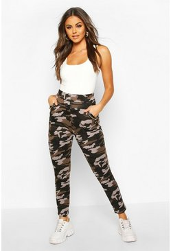 Womens Charcoal Camo Legging With Zip Feature And Fleece Lining