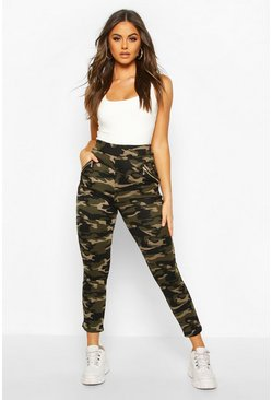 Womens Green Camo Legging With Zip Feature And Fleece Lining