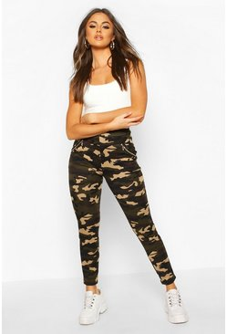 Womens Stone Camo Legging With Zip Feature And Fleece Lining