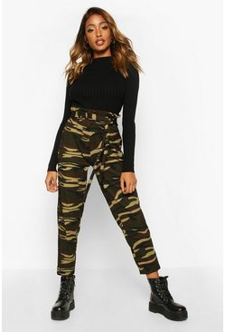 Womens Green Camo Tie Waist Trouser With Paperbag Waist