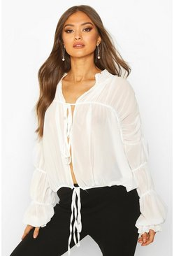 Dam Cream Ruched Ruffle Neck Blouse