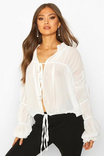 Womens Cream Ruched Ruffle Neck Blouse