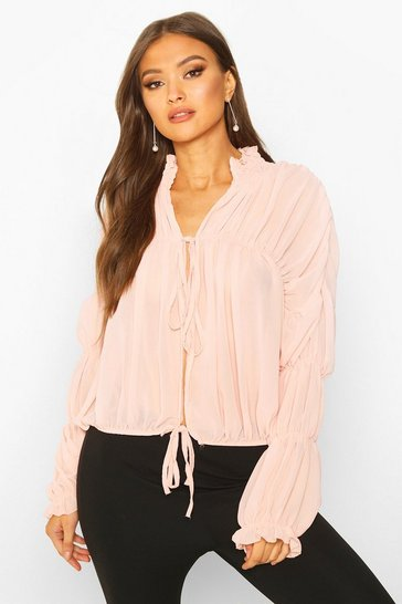 Womens Nude Ruched Ruffle Neck Blouse