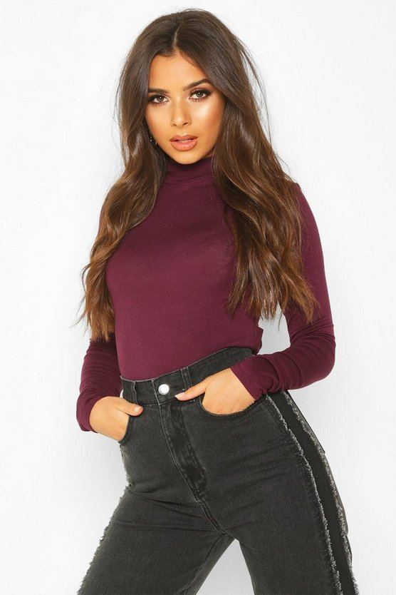 Berry Basic High Neck Long Sleeve Top