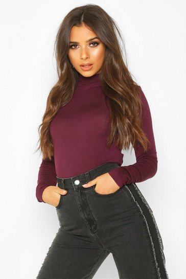 Womens Berry Basic High Neck Long Sleeve Top