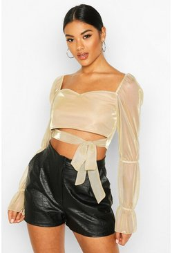 Womens Champagne Glitter Sheer Mesh Tie Front Crop Top