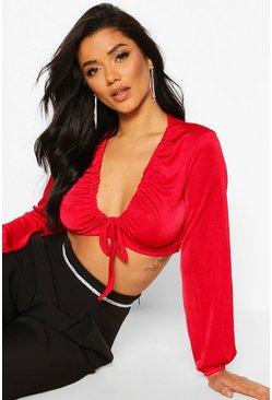 Red Soft Slinky Tie Up Ruched Crop Top