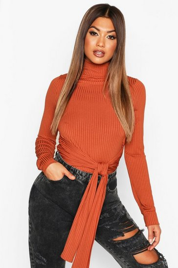 Womens Terracotta High Neck Ribbed Tie Waist Long Sleeve Top