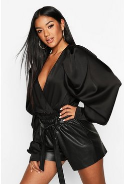 Womens Black Satin Puff Sleeve Wrap Front Bodysuit
