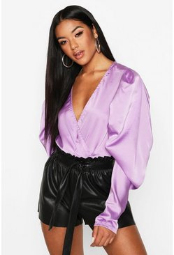 Womens Lilac Satin Puff Sleeve Wrap Front Bodysuit