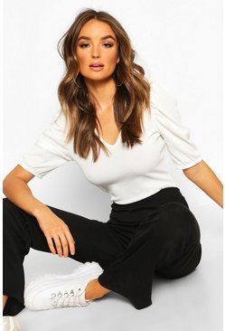 Cream V Neck Puff Sleeve Rib Top