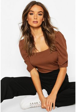 Chocolate Square Neck Puff Sleeve Rib Top