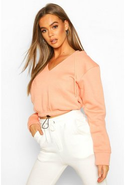 Womens Coral Drawcord Crop Hoody