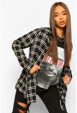 Black Oversized Check Boyfriend Shirt