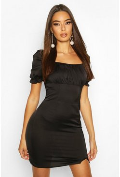 Black Satin Puff Sleeve Square Neck Bodycon Mini Dress