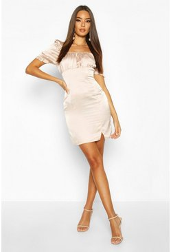 Champagne Satin Puff Sleeve Square Neck Bodycon Mini Dress