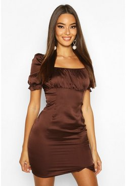 Chocolate Satin Puff Sleeve Square Neck Bodycon Mini Dress