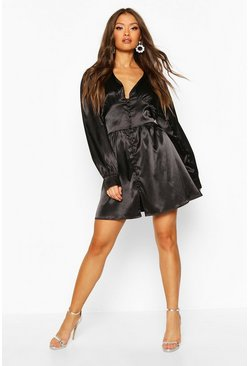 Black Satin Button Detail Skater Dress