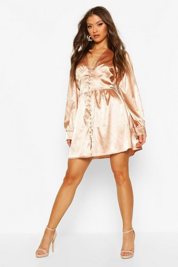Gold Satin Button Detail Skater Dress