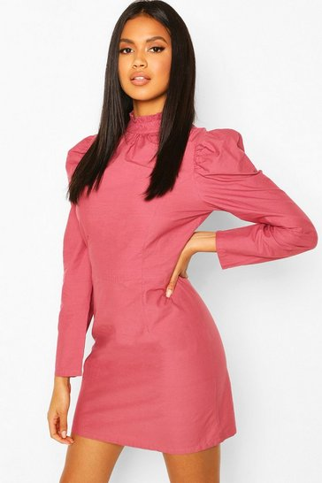 Dusty rose Ruffle Neck Puff Sleeve Mini Dress