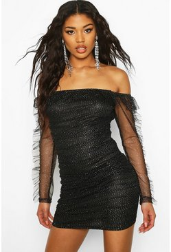 Womens Black Glitter Mesh Bodycon Mini Dress