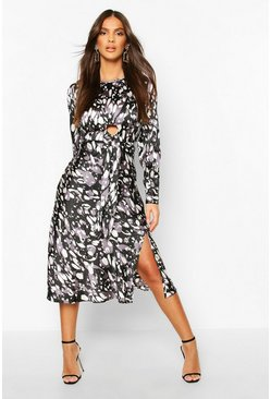 Leopard Print Tie Detail Satin Midi Dress, Black