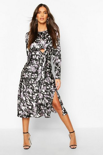 Black Leopard Print Tie Detail Satin Midi Dress
