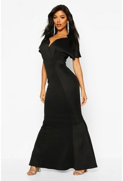 Black Cross Over Fishtail Maxi Dress