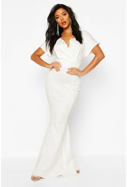 Womens Ivory Cross Over Fishtail Maxi Dress