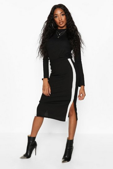 Black Rib Side Stripe Midi Co-Ord