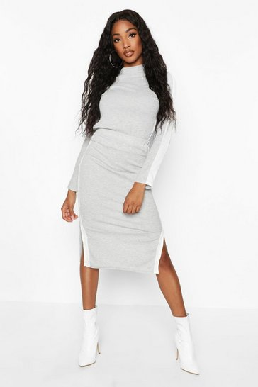 Grey Rib Side Stripe Midi Co-Ord