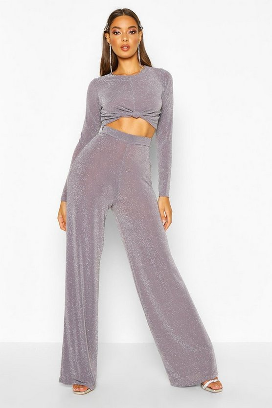 Grey Metallic Knot Front Top And Wide Leg Trouser Co-Ord