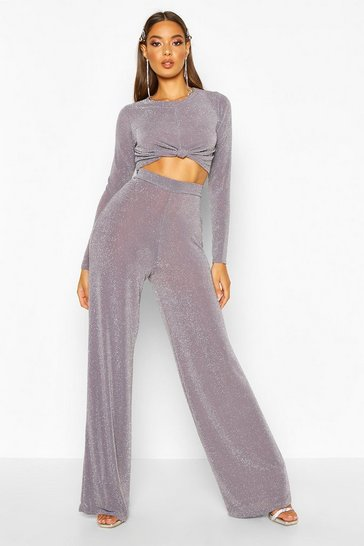 Womens Grey Metallic Knot Front Top And Wide Leg Trouser Co-Ord