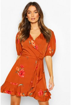 Rust Puff Sleeve Wrap Tea Dress