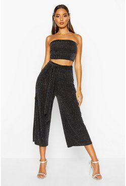 Metallic Bandeau And Tie Waist Culotte, Black, MUJER