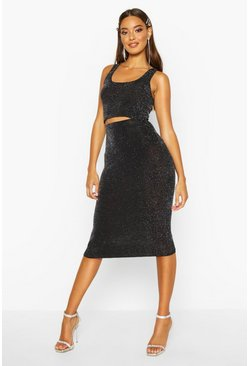 Black Metallic Crop & Midi Skirt Co-Ord