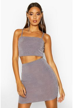 Womens Grey Metallic Strappy Crop & Mini Skirt Co-Ord