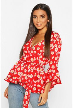 Womens Red Daisy Print Wrap Blouse