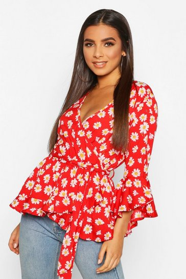 Red Daisy Print Wrap Blouse