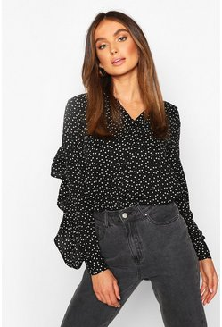 Womens Black Woven Heart Print Ruffle Detail Shirt