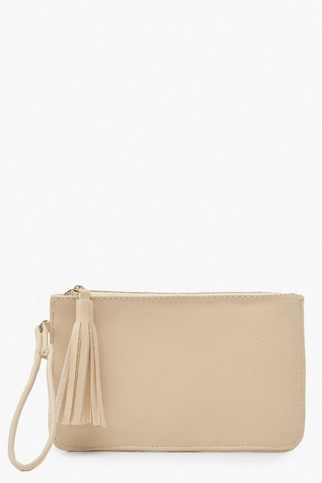 Cream Crackled PU Zip Clutch Bag With Tassel