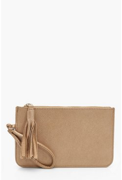 Gold Crackled PU Zip Clutch Bag With Tassel