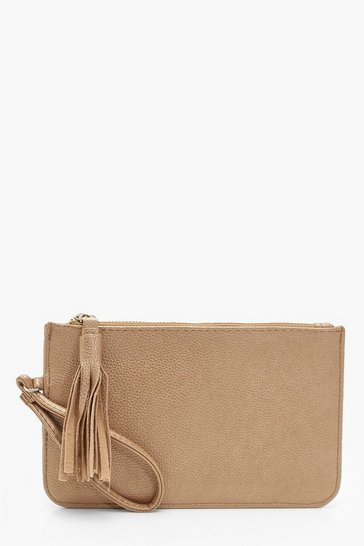 Womens Gold Crackled PU Zip Clutch Bag With Tassel