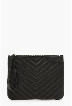 Womens Black PU Chevron Quilted Zip Top Clutch Bag