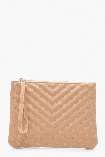 Womens Blush PU Chevron Quilted Zip Top Clutch Bag