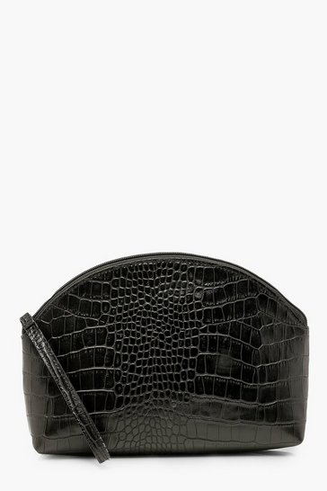 Black Croc Half Moon Zip Top Pouch & Handle Bag
